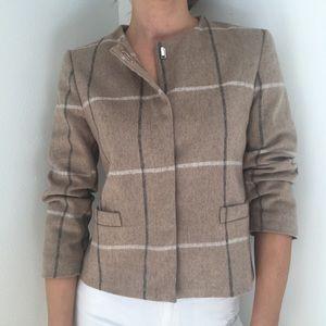 Plaid Zara Basic Beige, Grey, White Jacket Size S.